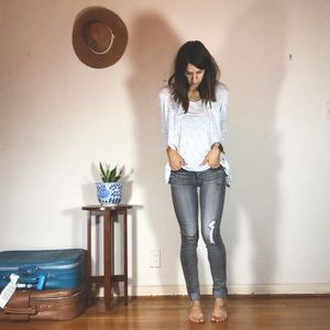 flying monkey skinny jeans distressed gray denim